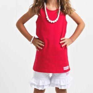 Ruffle Girl Matching Sets - Ruffle Girl Crimson White BowBack Ruffle Short Set